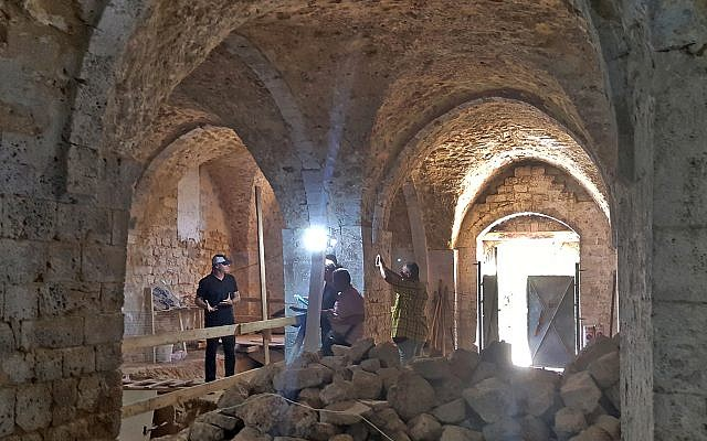 A view of a soap factory dating to the 19th century found during work at the new Uri Geller Museum in Jaffa. (Dlila Bar-Ratson/Israel Antiquities Authority)