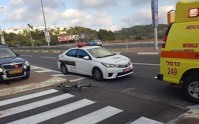 Scene of an accident in Haifa in which athlete Noa Hayat was killed on August 15, 2018. (United Hatzalah)