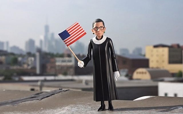 Ruth Bader Ginsburg action figure is being sold by a Brooklyn-based company. (Fctry via Kickstarter/JTA)