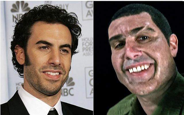 "This combination photo shows Sacha Baron Cohen at the 64th Annual Golden Globe Awards in Beverly Hills, Calif., on January 15, 2007, left, and Cohen portraying retired Israeli Colonel Erran Morad in a still from the Showtime series, ""Who Is America?"" (AP Photo/Kevork Djansezian, left, and Showtime)"