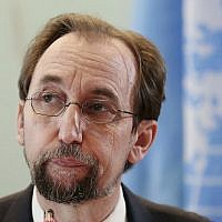 In this February 7, 2018, file photo, UN human rights chief Zeid Ra'ad al-Hussein speaks at a press conference in Jakarta, Indonesia. (AP Photo/Dita Alangkara, File)