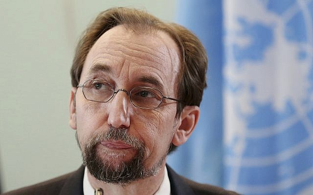 In this photo from February 7, 2018, UN human rights chief Zeid Ra'ad al-Hussein speaks at a press conference in Jakarta, Indonesia. (AP Photo/Dita Alangkara, File)
