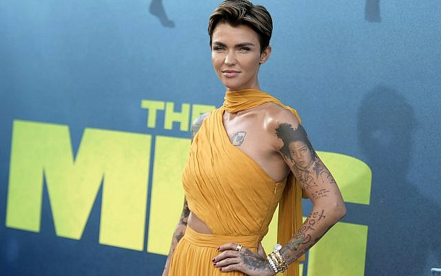 """Ruby Rose attends the LA Premiere of """"The Meg"""" at TCL Chinese Theatre on August 6, 2018, in Los Angeles, United States. (Photo by Richard Shotwell/Invision/AP)"""