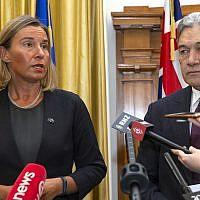 European Union foreign policy chief Federica Mogherini, left, and New Zealand Foreign Minister Winston Peters address a press conference after their meeting at Parliament in Wellington, New Zealand, August 7, 2018. (Mark Mitchell/New Zealand Herald via AP)