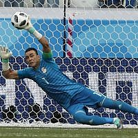 In this file photo dated June 25, 2018, Egypt goalkeeper Essam El Hadary deflects a penalty during the group A match between Saudi Arabia and Egypt at the 2018 soccer World Cup at the Volgograd Arena in Volgograd, Russia. (AP Photo/Darko Vojinovic)