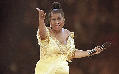In this photo from January 19, 1993, singer Aretha Franklin performs at the inaugural gala for US president Bill Clinton in Washington. (AP Photo/Amy Sancetta, File)