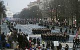 In this file photo, military units participate in the inaugural parade from the Capitol to the White House in Washington on January 20, 2017. (AP Photo/Cliff Owen)