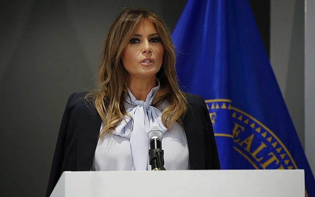 First lady Melania Trump speaks as she attends the 6th Federal Partners in Bullying Prevention (FPBP) Summit at Health and Human Service in Rockville, Maryland, August 20, 2018. (Pablo Martinez Monsivais/AP)