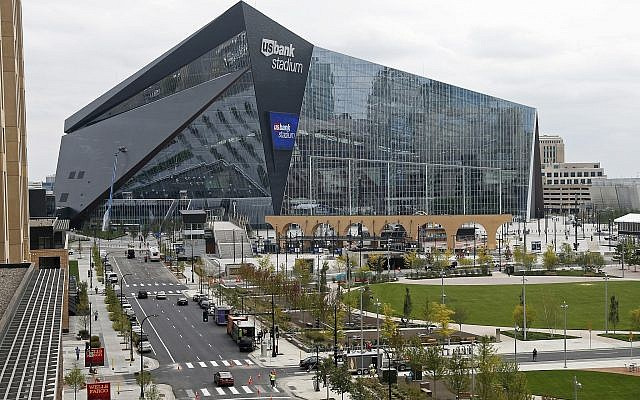 The US Bank Stadium, the new home of the NFL Minnesota Vikings football team in Minneapolis, September 15, 2016. (Jim Mone/AP)