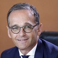 In this July 18, 2018 photo German Foreign Minister Heiko Maas smiles prior to the weekly cabinet meeting at the chancellery in Berlin, Germany. (AP Photo/Ferdinand Ostrop)