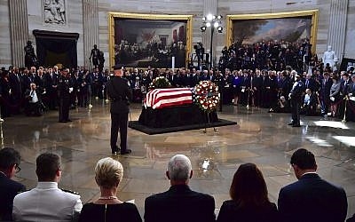 The flag-draped casket of Sen. John McCain, R-Ariz., lies in state at the US Capitol, Friday, August 31, 2018 in Washington. (Kevin Dietsch/Pool photo via AP)