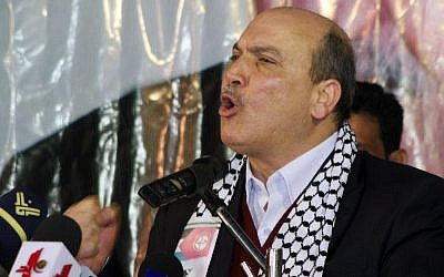 Popular Front for the Liberation of Palestine member Maher al-Taher eulogizes George Habash, the founder of the terror group, during a commemorative celebration held in Damascus on Friday, March 7, 2008. (AP Photo/Bassem Tellawi)