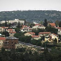 A view of the Jewish settlement Karnei Shomron in the northern West Bank, April 9, 2008 (AP Photo/Dan Balilty)