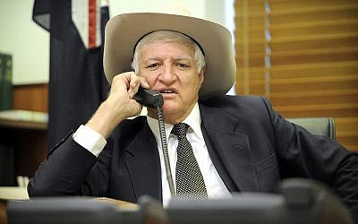 Australian Federal Independent Lawmaker Bob Katter -- years later head of Katter's Australian Party -- is pictured in his office at Parliament House, in Canberra, Australia, September 7, 2010. (AP Photo/Mark Graham)