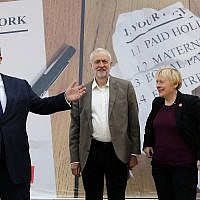 Deputy Labour leader Tom Watson, left, party head Jeremy Corbyn, center, during a referendum event in London on June 7, 2016. (AP/Frank Augstein)
