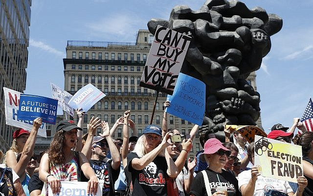 Supporters of Sen. Bernie Sanders, I-Vt., march during a protest in downtown Phildelphia on July 24, 2016, ahead of the Democratic National Convention there. (AP/Alex Brandon)