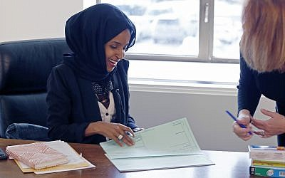 Ilhan Omar, Democrat Minnesota House of Representatives, seen here after she was elected to the state legislature in January 5, 2017. (Jim Mone/AP)