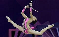 Linoy Ashram of Israel performs her clubs routine during in 2017 (Tamas Kovacs/MTI via AP)
