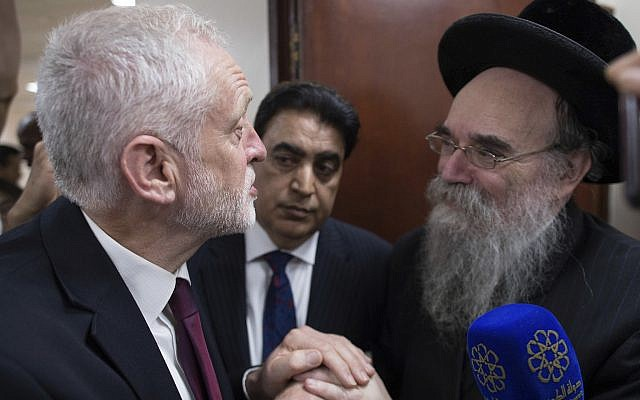 Illustrative: Labour leader Jeremy Corbyn, left, meets locals at Finsbury Park Mosque in north London, after an incident where where a van struck pedestrians, in London, Monday June 19, 2017. (Stefan Rousseau/Pool Photo via AP)