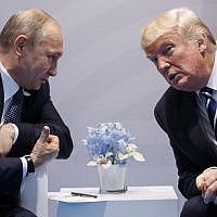 US President Donald Trump (right) meets with Russian President Vladimir Putin at the G-20 Summit in Hamburg, July 7, 2017.  (AP Photo/Evan Vucci)