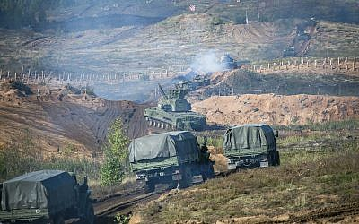 Russian military vehicles during a military exercise at a training ground at the Luzhsky Range, near St. Petersburg, Russia, Monday, Sept. 18, 2017. (AP Photo/ Russian Defense Ministry Press Service)