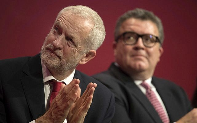 Labour Party leader Jeremy Corbyn, left, and deputy leader Tom Watson attend the opening session of the Labour Party annual conference in Brighton, England, September 24, 2017. (Stefan Rousseau/PA via AP)