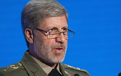 Iranian Defense Minister Amir Hatami speaks during the Conference on International Security in Moscow, Russia, April 4, 2018. (AP Photo/Alexander Zemlianichenko)