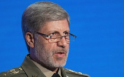Iranian Defense Minister Amir Hatami speaks at the Conference on International Security in Moscow, Russia, April 4, 2018. (AP Photo/Alexander Zemlianichenko)