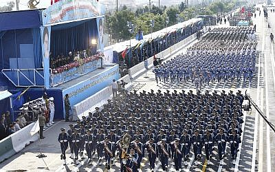 Iranian army troops march during a parade marking National Army Day in front of the mausoleum of the late revolutionary founder Ayatollah Khomeini, just outside Tehran, Iran, April 18, 2018. (AP Photo/Ebrahim Noroozi)