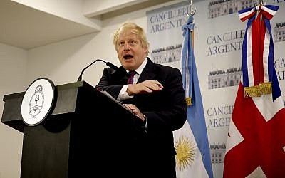 Then-British Foreign Secretary Boris Johnson talks at a press conference in Buenos Aires, Argentina, on May 22, 2018. (AP Photo/Natacha Pisarenko)