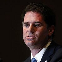 Ron Dermer, Israel's ambassador to the United States, speaks at the Economic Club of Detroit in Detroit, Michigan, on June 4, 2018. (AP Photo/Paul Sancya)