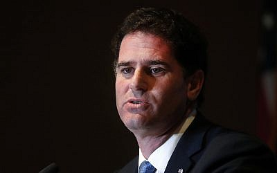 Ron Dermer, Israel's ambassador to the United States speaks at the Economic Club of Detroit in Detroit, Monday, June 4, 2018. (AP Photo/Paul Sancya)