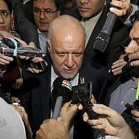 Iran's Minister of Petroleum Bijan Namdar Zangeneh speaks to journalists at a hotel in Vienna, Austria, June 19, 2018. (Ronald Zak/AP)