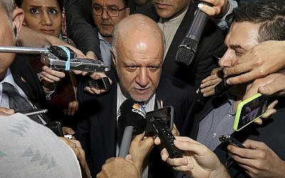 Iran's Minister of Petroleum Bijan Namdar Zangeneh speaks to journalists at a hotel in Vienna, Austria, June 19, 2018. (Ronald Zak/AP)