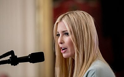 Ivanka Trump, daughter and senior adviser to US President Donald Trump speaks in the East Room of the White House, July 19, 2018, in Washington. (Andrew Harnik/AP)
