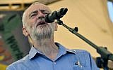 Britain's opposition Labour Party leader Jeremy Corbyn speaks at the Tolpuddle Martyrs Festival in Tolpuddle, England, Sunday July 22, 2018. The Tolpuddle Martyrs were a group of agricultural laborers who clashed with authorities in 19th-century England. (Ben Birchall/PA via AP)