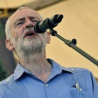 Britain's Labour Party leader Jeremy Corbyn speaks at the Tolpuddle Martyrs Festival in Tolpuddle, England, on July 22, 2018. (Ben Birchall/PA via AP)