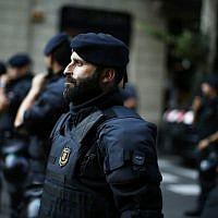 Spanish police officers in Barcelona, Spain, July 23, 2018. (Manu Fernandez/AP)