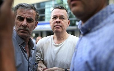 Andrew Craig Brunson, an evangelical pastor from Black Mountain, North Carolina, arrives at his house in Izmir, Turkey, July 25, 2018. (Emre Tazegul/AP)