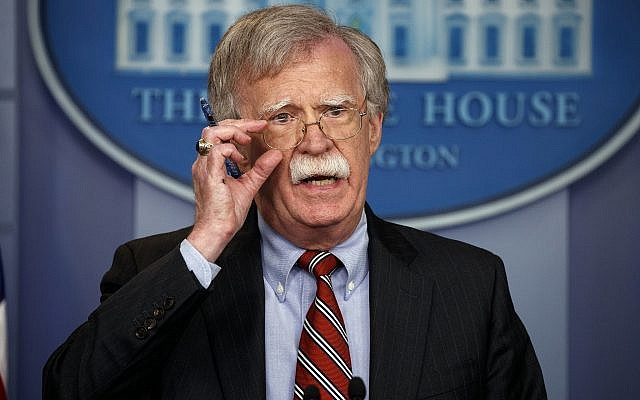 US National Security Adviser John Bolton speaks during the daily press briefing at the White House, on August 2, 2018. (AP Photo/Evan Vucci)