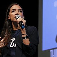 New York congressional candidate Alexandria Ocasio-Cortez addresses supporters at a fundraiser on August 2, 2018, in Los Angeles. (AP Photo/Jae C. Hong)