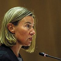 European Union Foreign Policy chief Federica Mogherini delivers her opening address during the ASEAN-European Union Ministerial Meeting in Singapore, August 3, 2018. (Yong Teck Lim/AP)