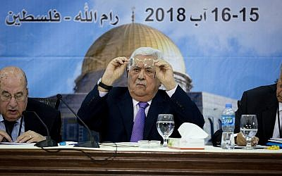 Palestinian Authority President Mahmoud Abbas, center, attends a meeting with top decision-making body the Palestinian Central Council, at his headquarters in the West Bank city of Ramallah, on August 15, 2018. (AP Photo/Majdi Mohammed)