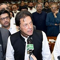 In this photo released by the National Assembly, the leader of Pakistan Tahreek-e-Insaf party Imran Khan, speaks at the National Assembly in Islamabad, Pakistan, Friday, Aug. 17, 2018 (National Assembly, via AP)