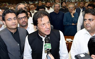 In this photo released by the National Assembly, the leader of Pakistan Tahreek-e-Insaf party Imran Khan, speaks at the National Assembly in Islamabad, Pakistan, on August 17, 2018 (National Assembly, via AP)