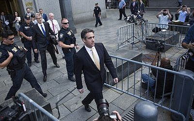 Michael Cohen, former lawyer to President Donald Trump, departs following his appearance in Federal Court on Tuesday, August 21, 2018, in New York. (AP/Kevin Hagen)