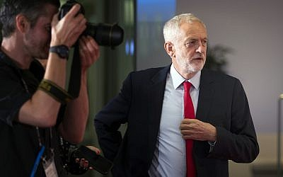 Britain's opposition Labour Party leader Jeremy Corbyn arrives to face the media at the Edinburgh Television Festival in Edinburgh, Scotland, Aug. 23, 2018. (Jane Barlow/PA via AP)