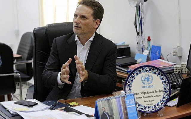 In this Aug. 23, 2018 photo, the head of United Nations Relief and Works Agency for Palestine Refugees (UNRWA) Pierre Kraehenbuehl speaks during an interview with The Associated Press in Jerusalem (AP Photo/Mahmoud Illean)