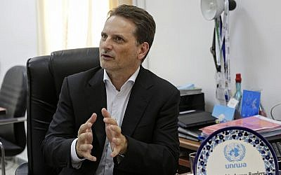 In this August 23, 2018 photo, the head of United Nations Relief and Works Agency for Palestine Refugees (UNRWA) Pierre Kraehenbuehl speaks during an interview with The Associated Press in Jerusalem (AP Photo/Mahmoud Illean)