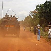 FILE - This April 11, 2014 file image shows French forces patrolling in Sibut, some 200kms (140 miles) northeast of Bangui, Central African Republic (AP Photo/Jerome Delay, File)
